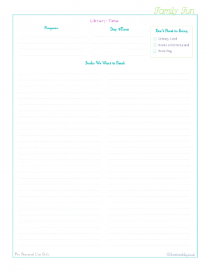 free printable, home management binder, family section