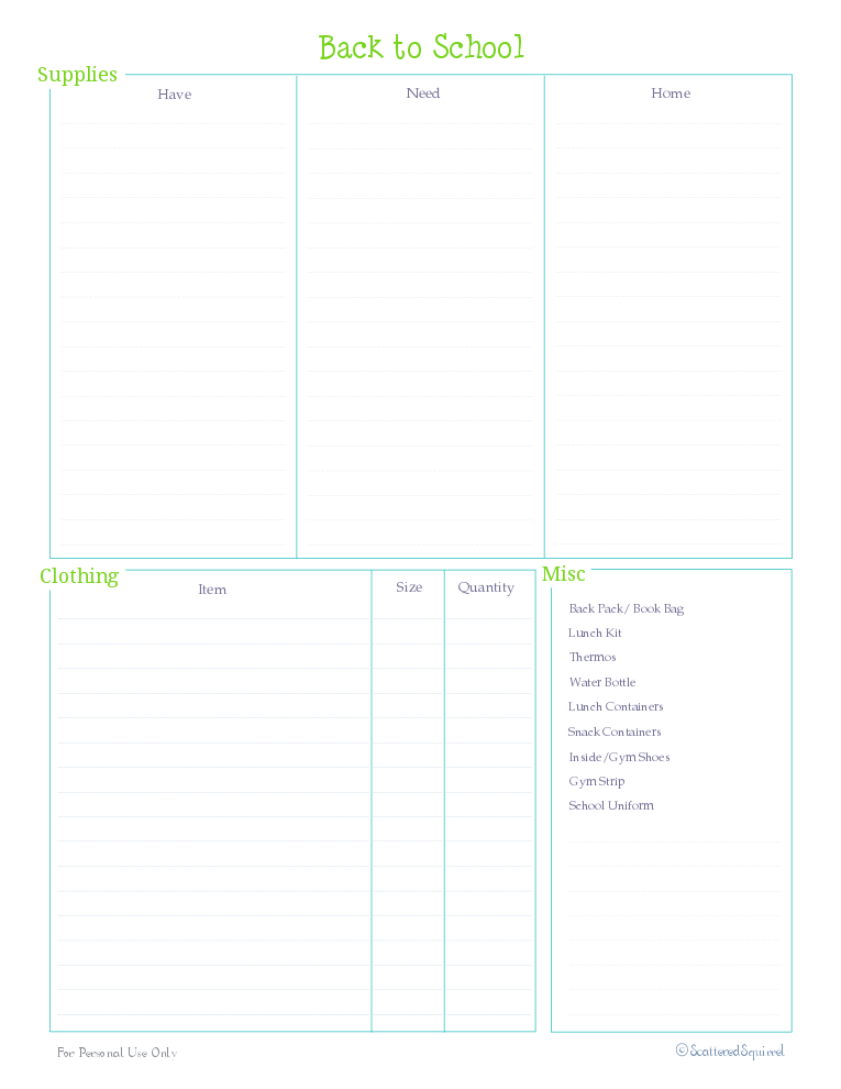 free printable, home management binder, kids section, checklsit, shopping list