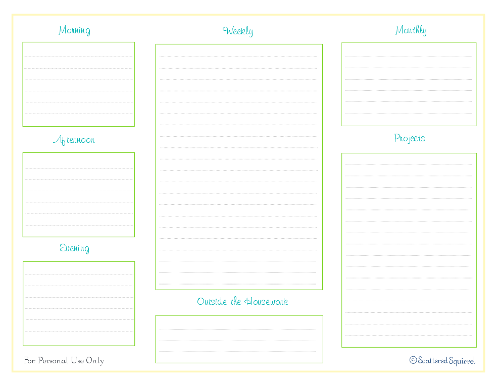 free printable, daily weekly cleaning checklist, home management binder
