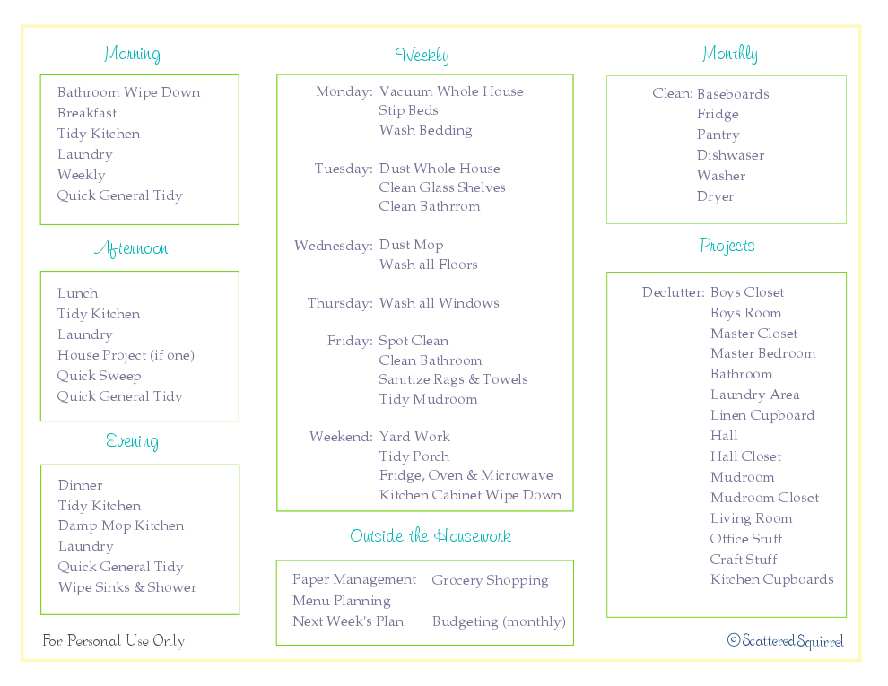free printable, daily and weekly cleaning checklist, home management binder