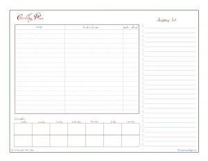 free printable, holiday planner, menu planner, cooking planner, shopping list