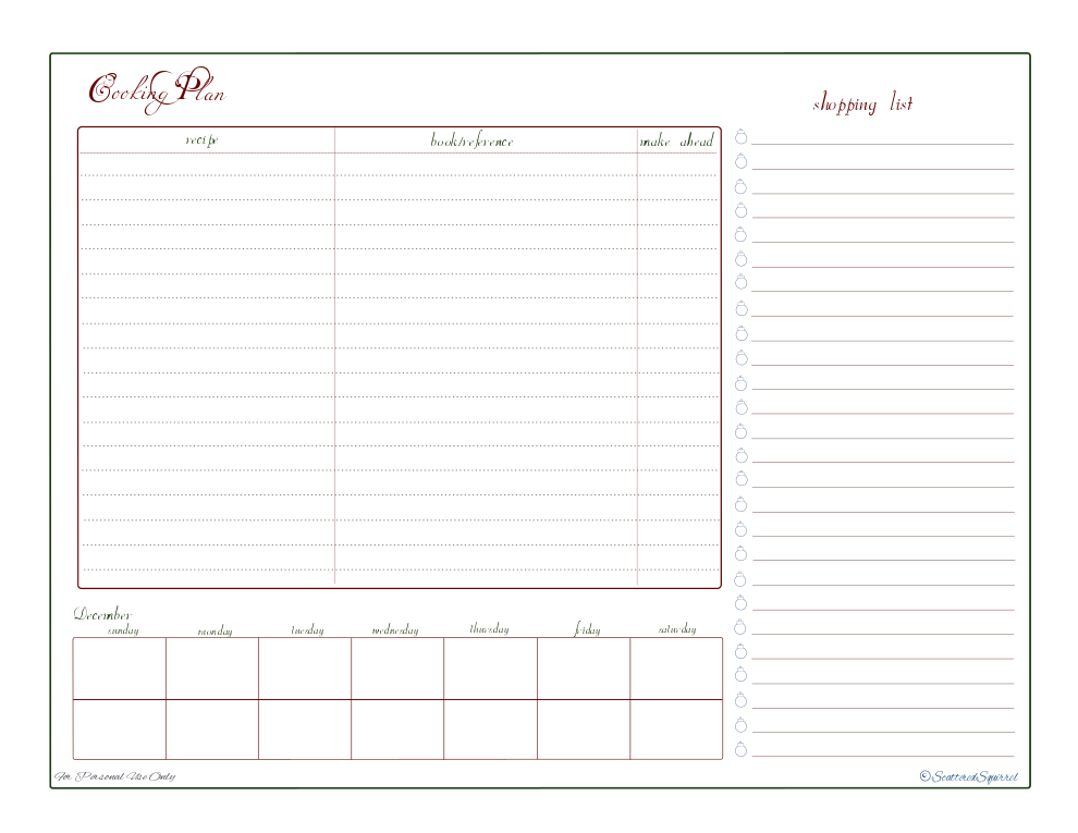 free printable holiday planner menu planner cooking planner shopping list