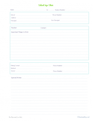 free printable, home management binder, kids section, school contact