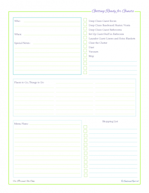 free printable, home managment binder, planning for guest