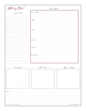 free printable, holiday menu planner, holiday planner, party planner