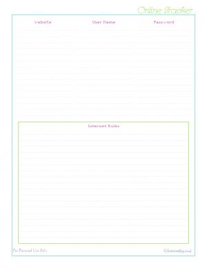 free printable, home management binder, kids section, password log