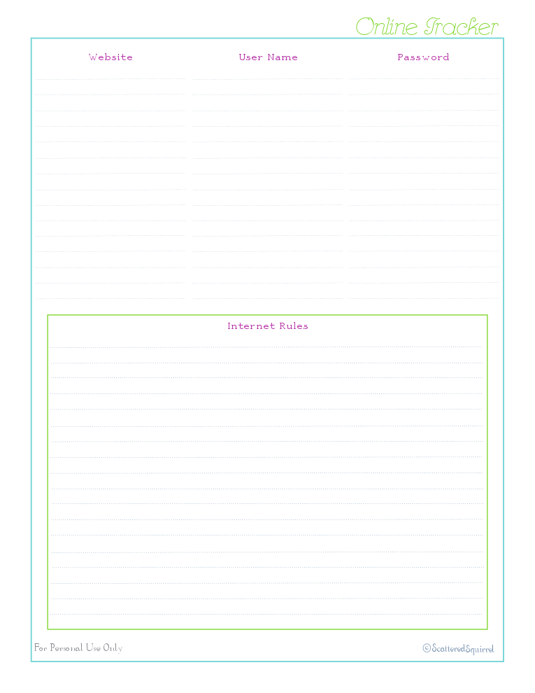 free printable, home management binder, kids section, password log