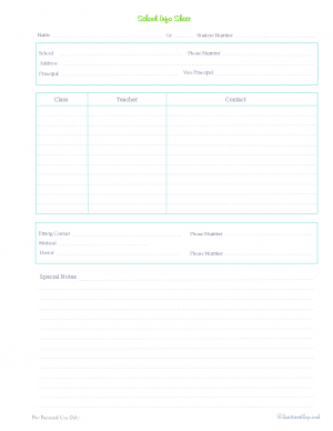 free printable, home management binder, kids section, school contact info