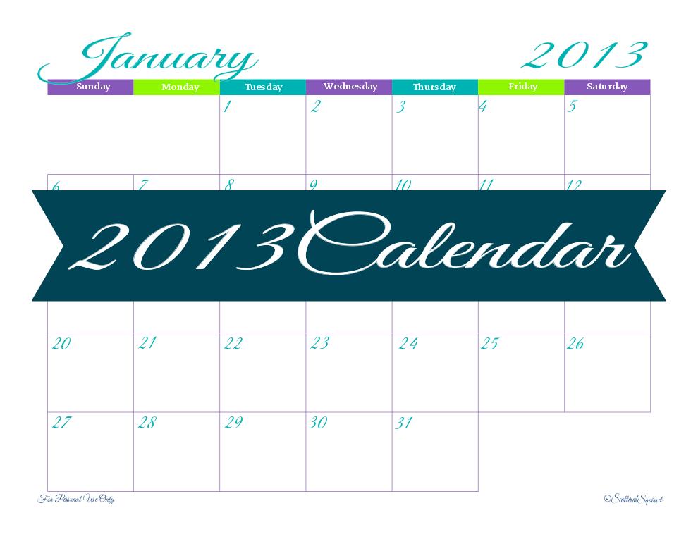 free printable, 2013 calendar