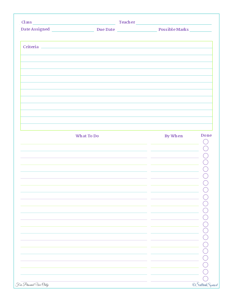A free printable home work planner, designed to help student break bigger projects into smaller tasks. |ScatteredSquirrel.com