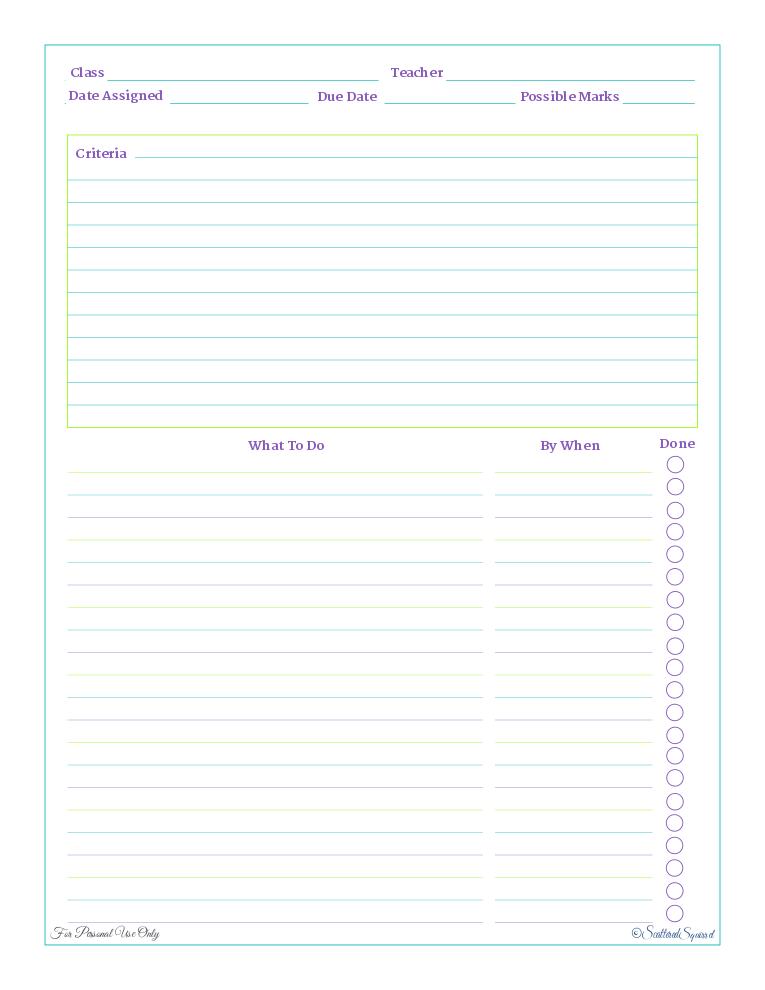 free printable, home work planner, checklist