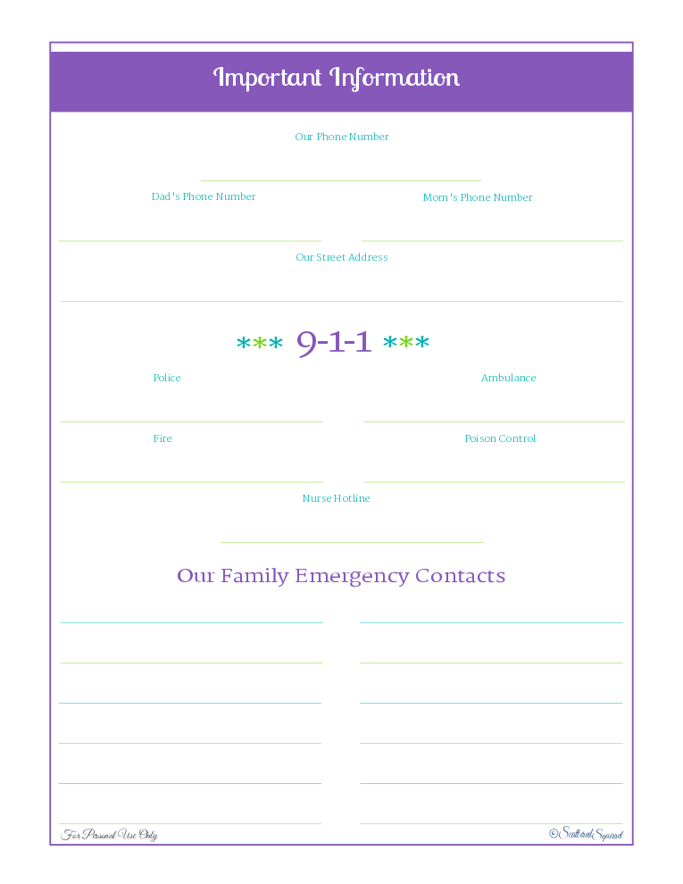 free printable, home management, emergency information and contact numbers