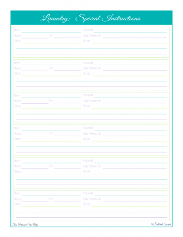 free printable, home management binder, home care section, instruction reference sheet for specail laundry items