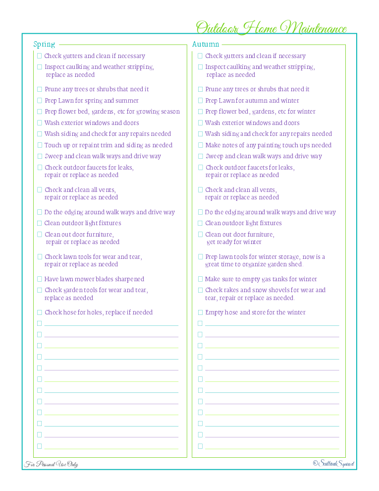 free printable, home management binder, home care section, outdoor home maintenance checklist
