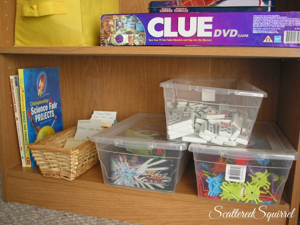 family books, cards, and toy storage