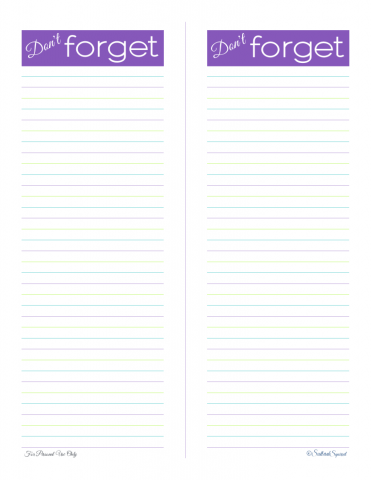 free printable, reminder list