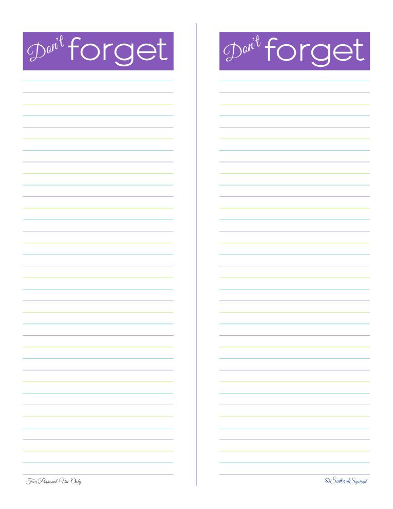 free printable, reminder list