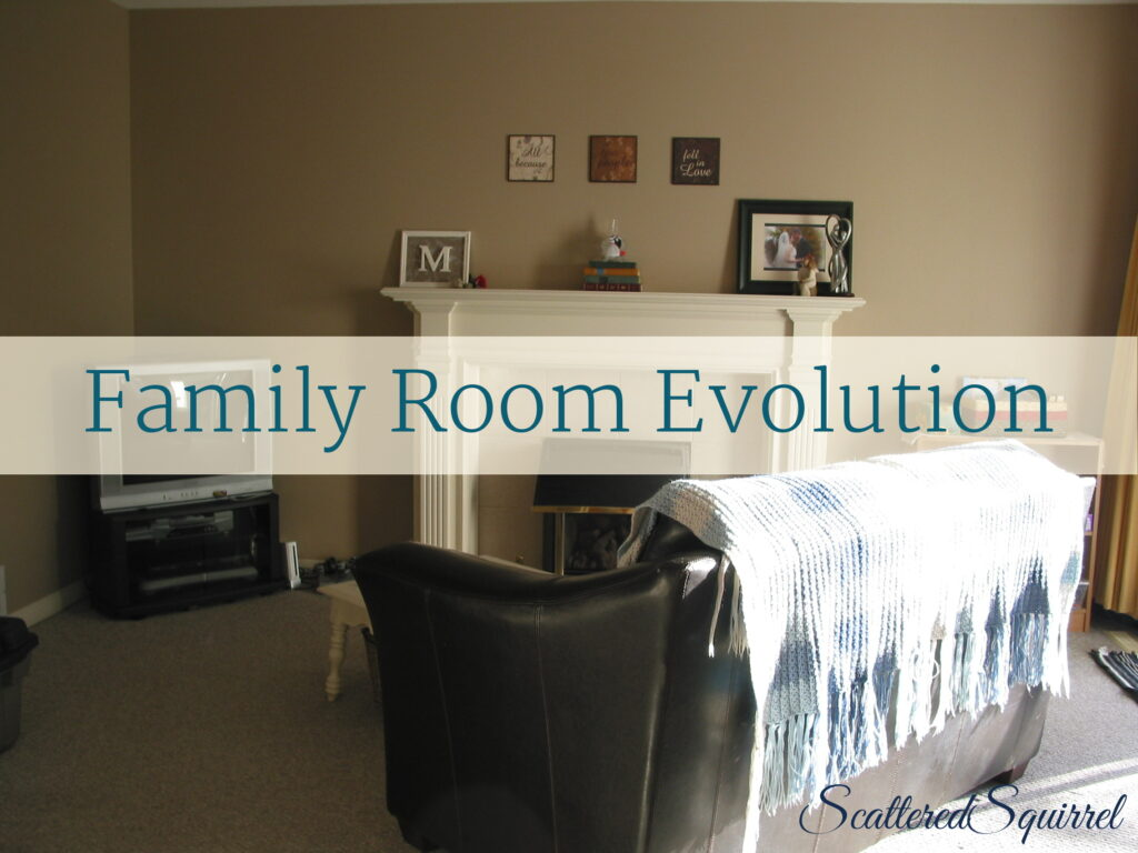 family room organization, making do with what we have