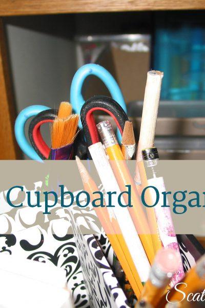 Kid's Craft Cupboard Organization by Scattered Squirrel