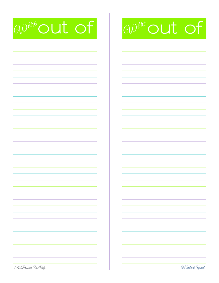 free printable, shopping list