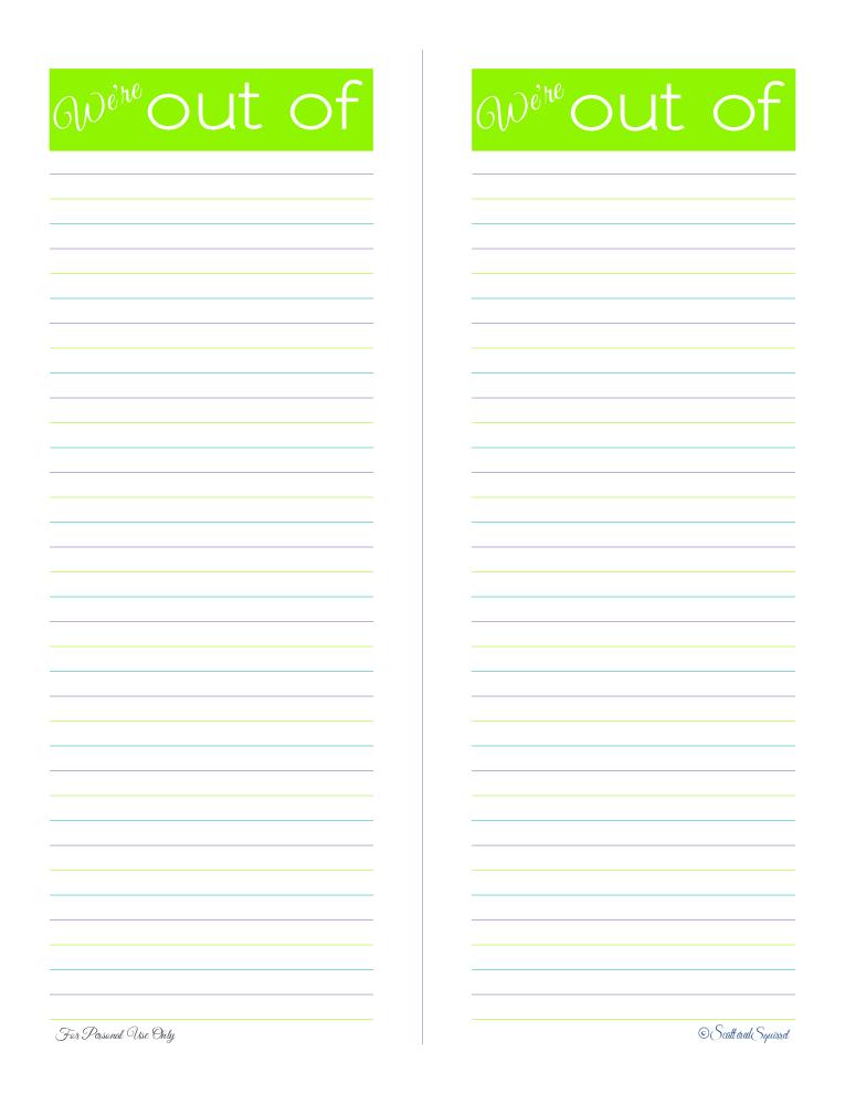 free printable, shopping list