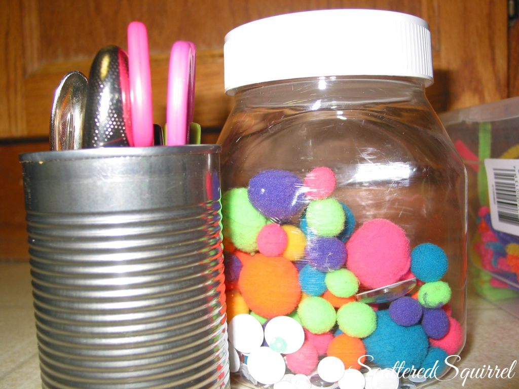 resuing items around the house to organize kid's craft supplies