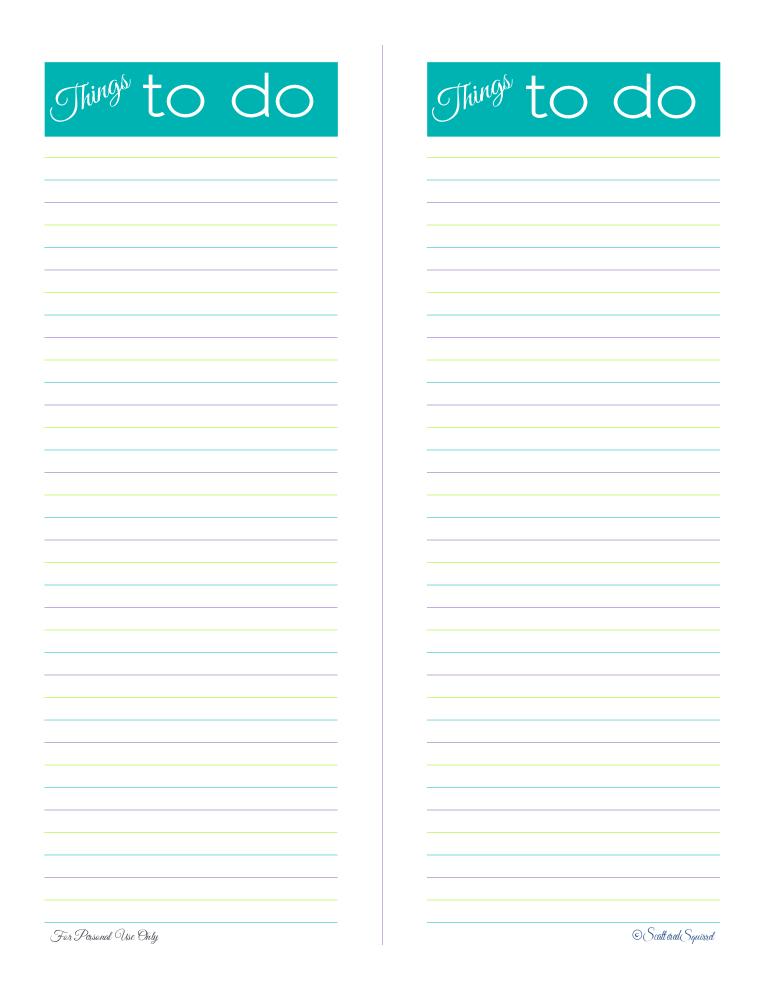 free printable, to do list