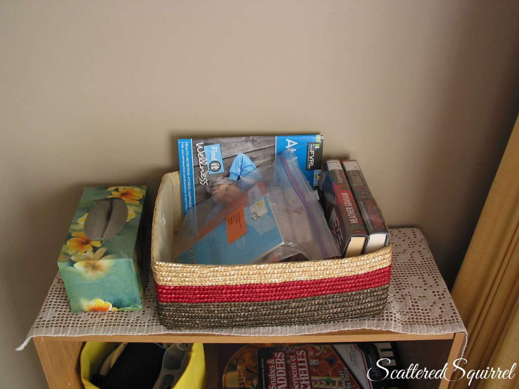 library and school book basket, for keeping everything neat and tidy, no more lost library books!