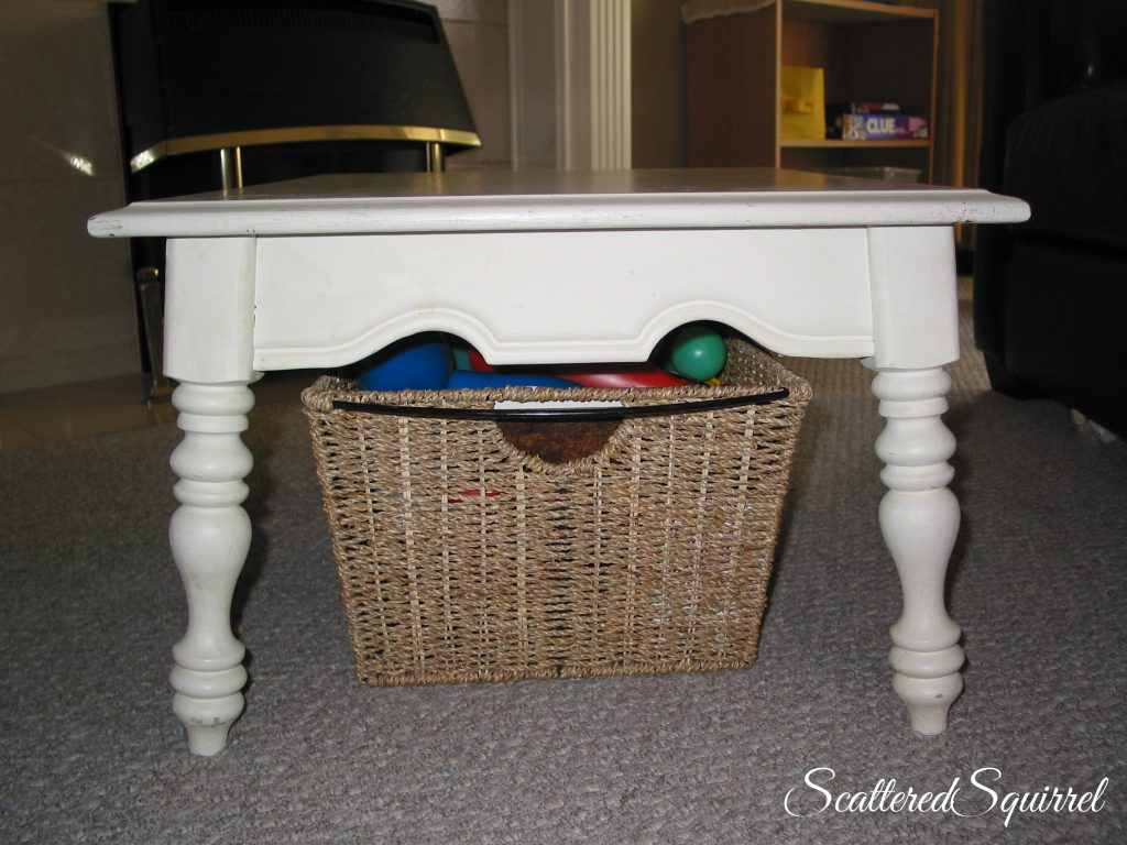 use a basket to collect random toys, then have kids take basket to their room to put things away when full