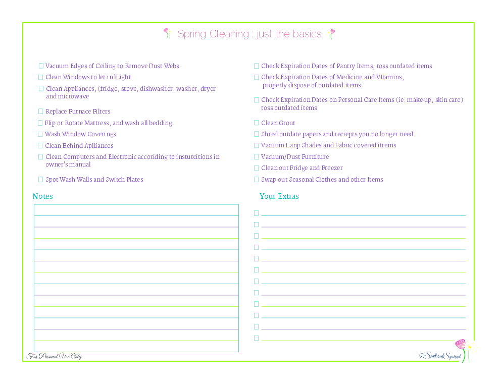 free printable spring cleaning check list with just the basic seasonal tasks, from ScatteredSquirrel