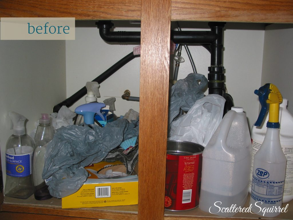 disorganized kitchen cabinet
