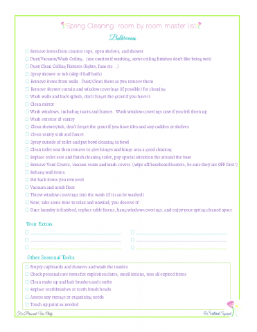free printable spring cleaning master checklist for bathrooms, from Scattered Squirrel