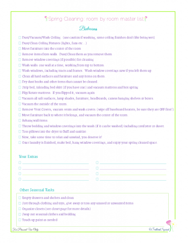 free printable spring cleaning master checklist for bedrooms, from Scattered Squirrel