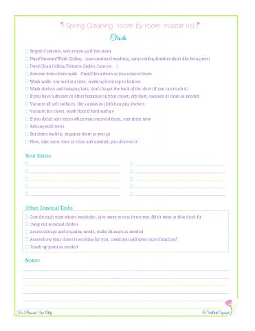 free printable spring cleaning master checklist for closets, from Scattered Squirrel