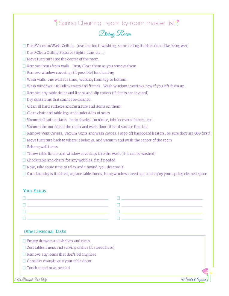 free printable spring cleaning master checklist for dining rooms, from Scattered Squirrel
