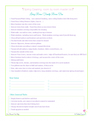 free printable spring cleaning master checklist for living rooms, from Scattered Squirrel