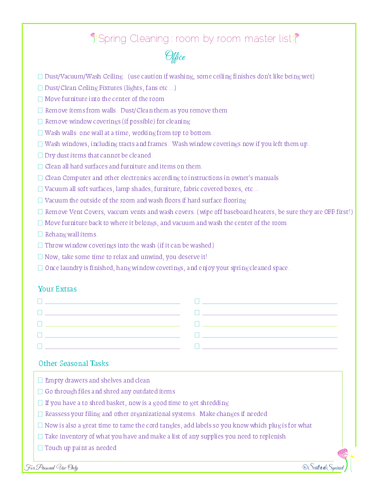 free printable spring cleaning master checklist for the office, from Scattered Squirrel