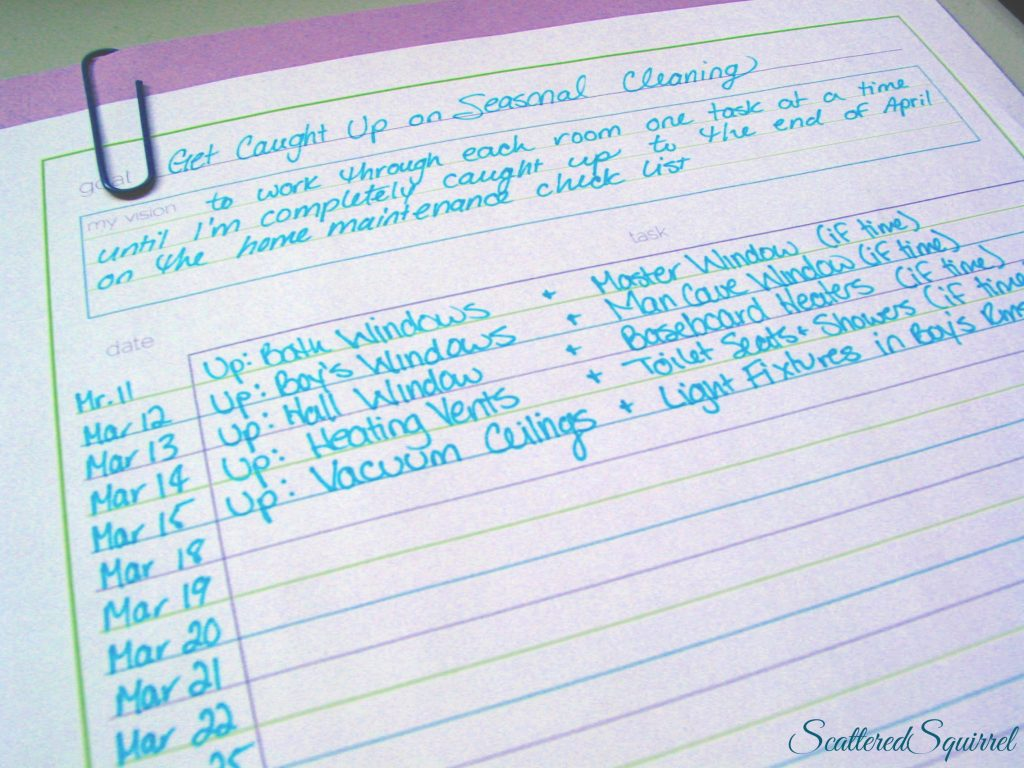 how I'm using the printable to plan my spring cleaning from Scattered Squirrel