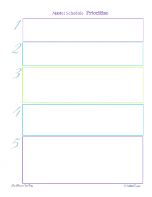 A free printable that was designed to work with the Master Schedule List, to help you prioritize how you're spending you time. From ScatteredSquirrel.com