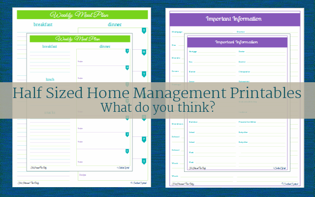 What do you think about a half size version of the home management printables? ScatteredSquirrel.com