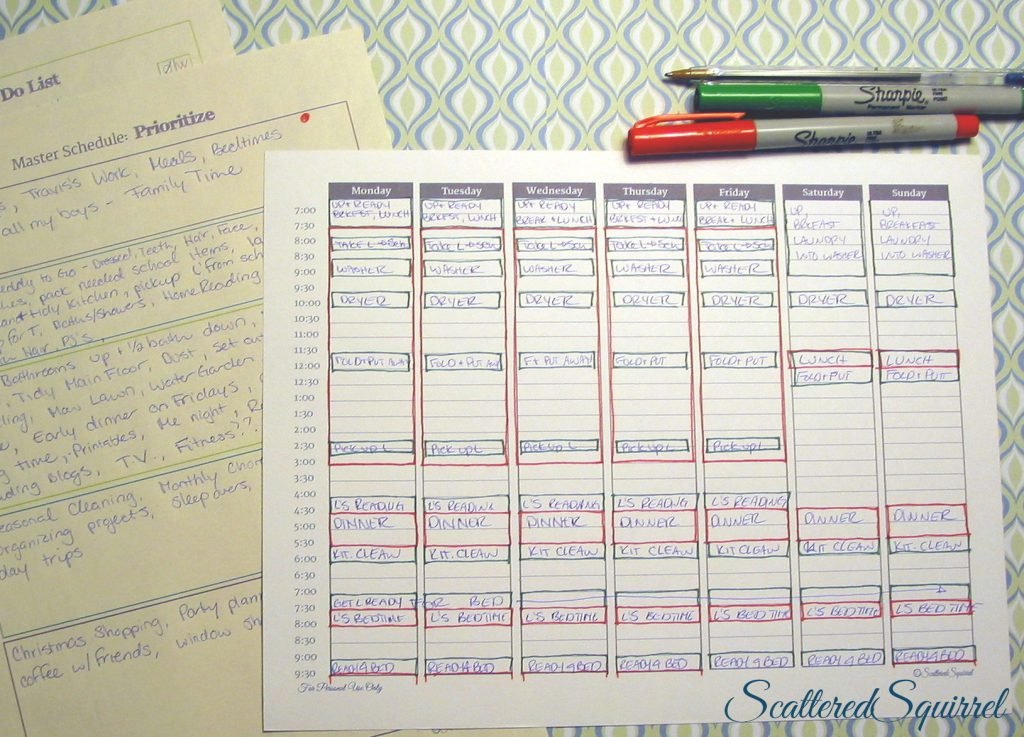 "Using the Master To Do and the Prioritize printables to help, I blocked out the first two categories onto our ""Typical Week"" planner, as time goes on, I can always add more. From ScatteredSquirrel.com"