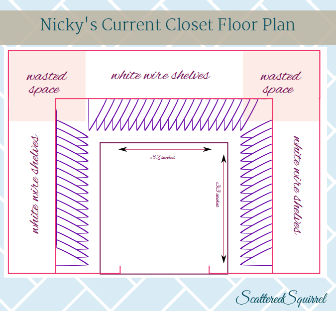 A bird's eye view of a small walk in closet from ScatteredSquirrel.com