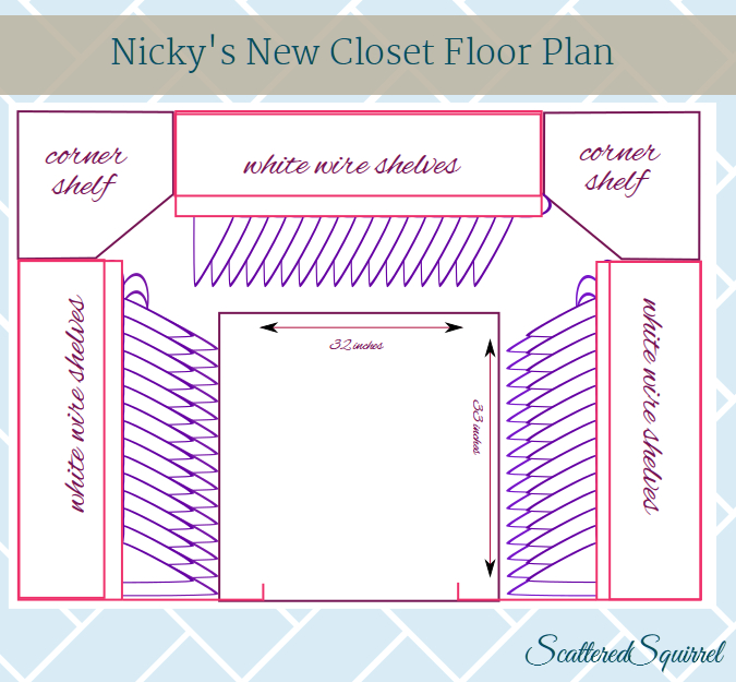 A bird's eye view of a small walk in closet with some changes added to it. From ScatteredSquirrel.com