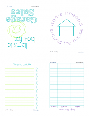 Free printable for garage sale/home item shopping list. It can stand alone or use with the other printables to create a note book. | ScatteredSquirrel.com