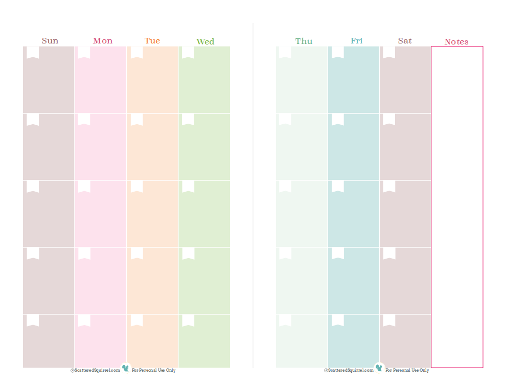 Free printable blank calendar, one month spread over two pages, designed for half size planners. | ScatteredSquirrel.com
