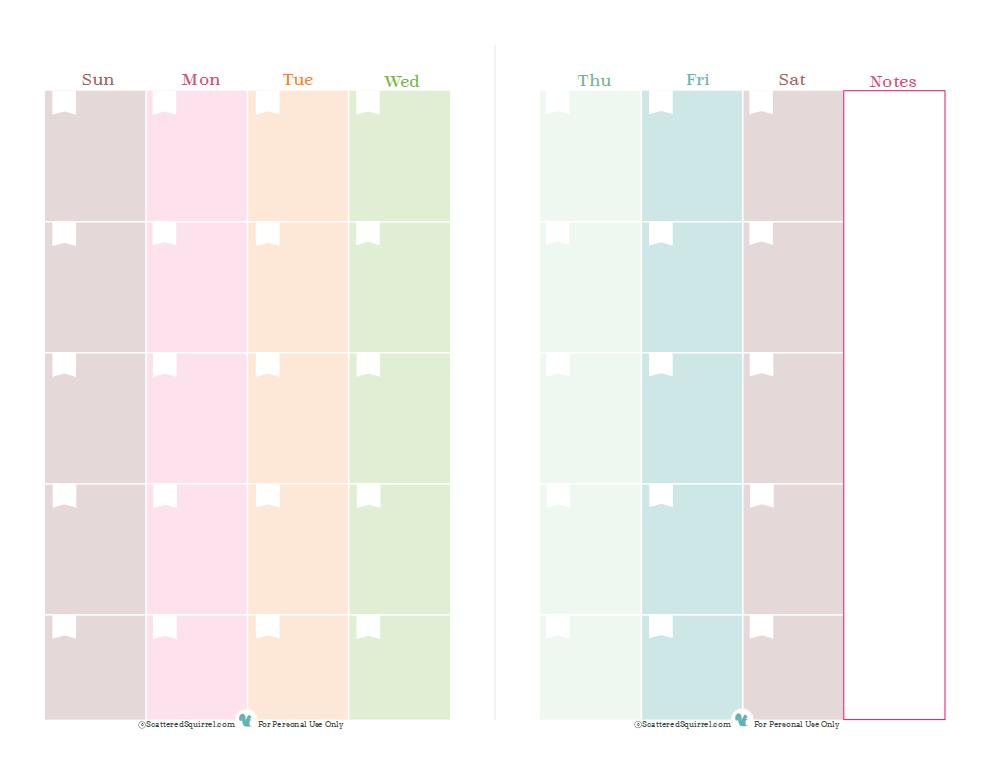 Half Page Monthly Calendar : Half size planner printables scattered squirrel