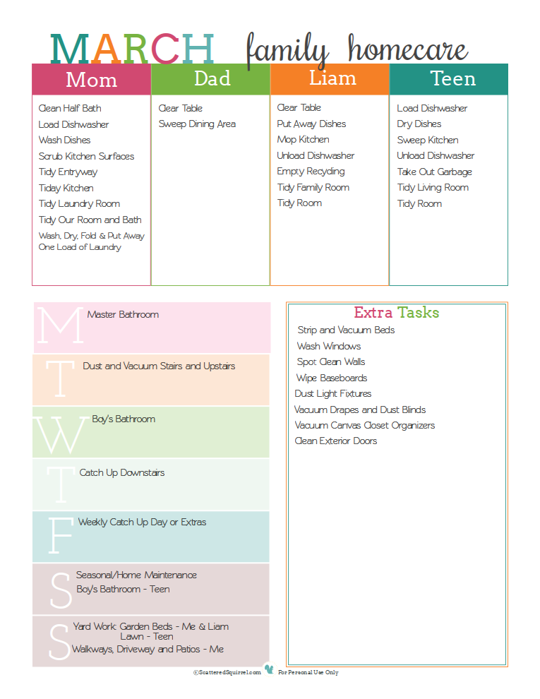 Here is how I filled in the printable for our family's homecare schedule | ScatteredSquirrel.com