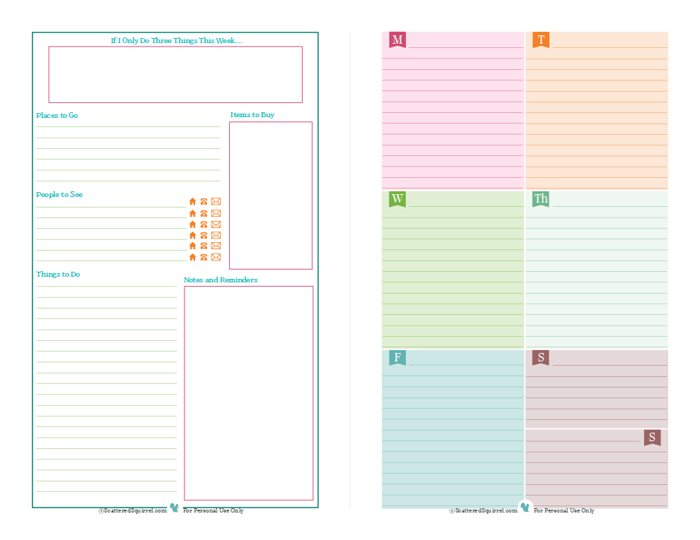 Free printable for half size or mini binders, one side for lists the other for scheduling. | ScatteredSquirrel.com