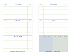Free printable student planner, designed to help middle and high school students keep track of assignments, up coming tests, and things they need to do.In blue grey and green