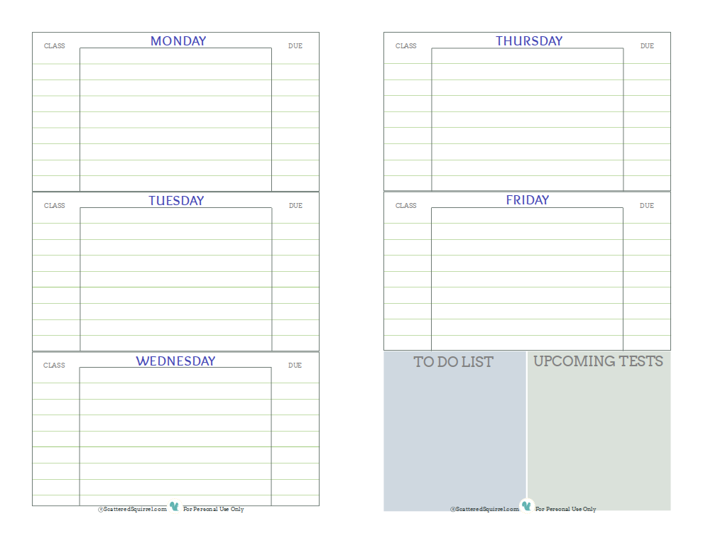 Free Printable Student Planner, Designed To Help Middle And High School  Students Keep Track Of